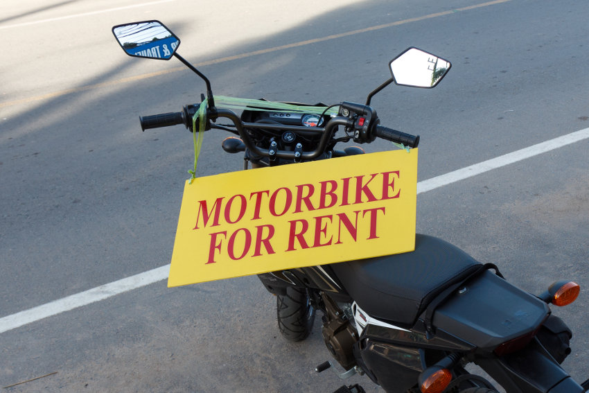 Motorbike for rent sign