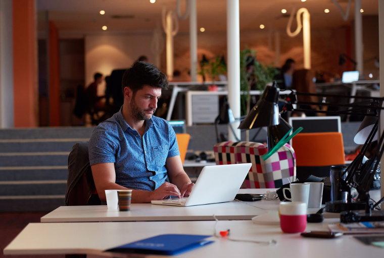 Startup founder working hard